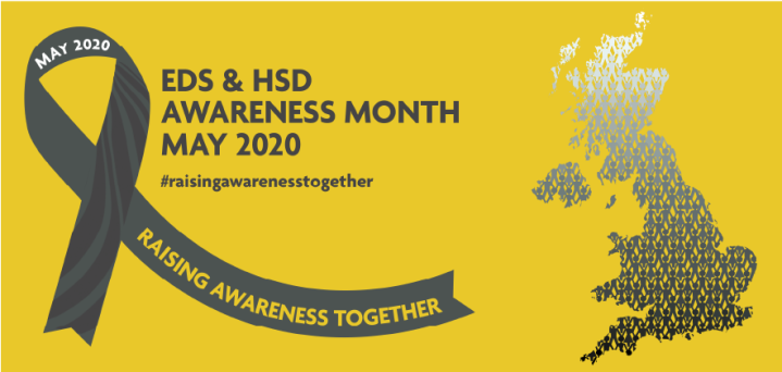 Image Description: A yellow awareness banner with a picture of the uk on the right. On the left is a grey awareness ribbon which reads 'Raising Awareness Together'. Next to the ribbon in grey writing it says 'EDS & HSD Awareness Month May 2020'